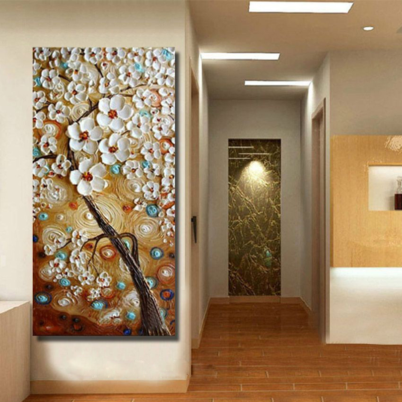 handmade Modern Canvas on Oil Painting Palette knife Tree 3D Flowers Paintings Home living room