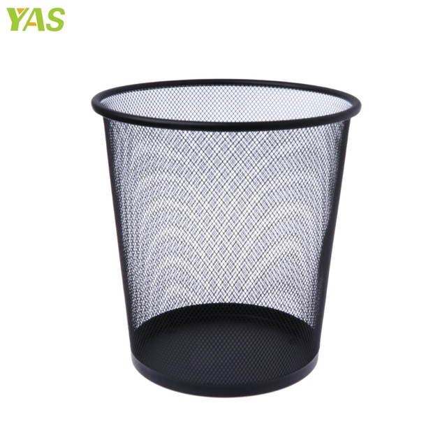 New Metal Mesh Wastebasket Round Trash Can Recycling Bin Office Tools  Supplies Black AUG19
