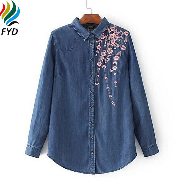 d6ab98d8 Floral Embroidery Women Denim Shirt New 2017 Spring Long Sleeve Jeans Shirts  Casual Turn-Down Collar Slim Tops Ladies Blouses