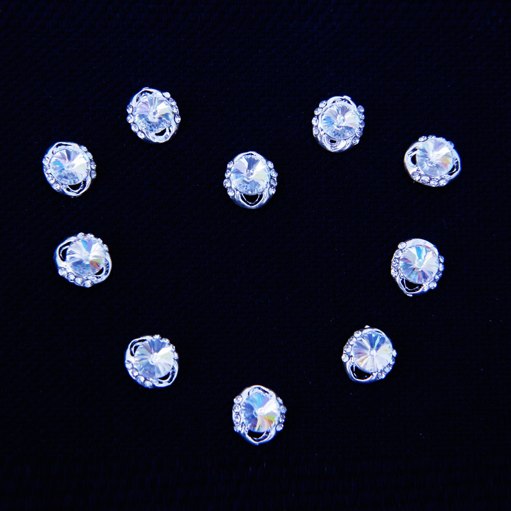 10 stücke Silber Legierung Nagel Strass Ornament Schmuck Design ...