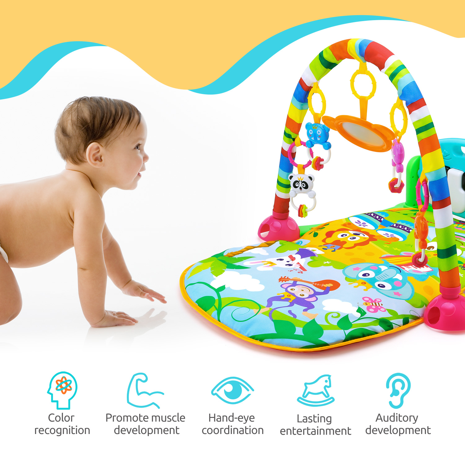 How To Play Newborn On Piano Baby Piano Fitness Play Mat Newborn Educational Toy With Light Sound Effect
