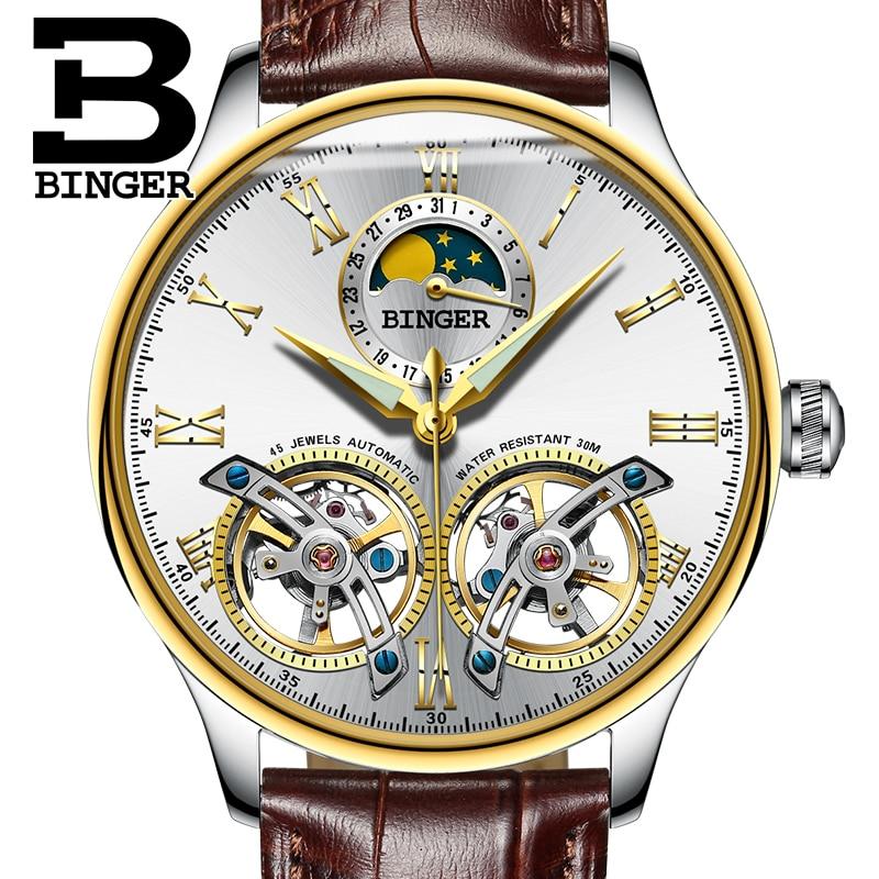 Genuine Luxury BINGER Brand Men Self-wind waterproof full steel automatic mechanical male fashion Luminous Two Tourbillon watch недорго, оригинальная цена