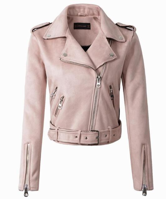2018 New Autumn Witner Women Motorcycle Faux Pu Leather Red Pink Jackets Lady Biker Outerwear Coat With Belt Hot Sale 6 Color by Lars Bell