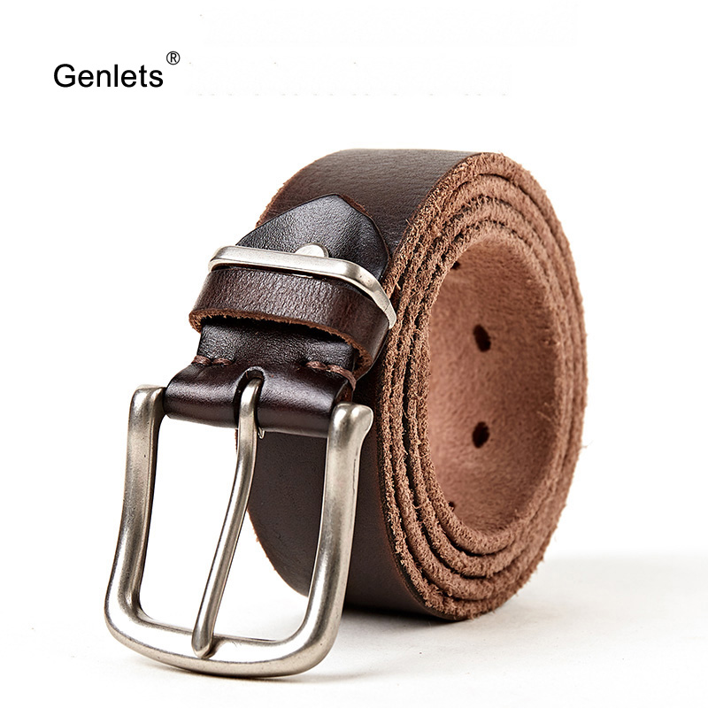 men's leather   belt   fashion design cinto for men genuine cowhide leather jean's strap brown color pin buckle   belts   free shipping
