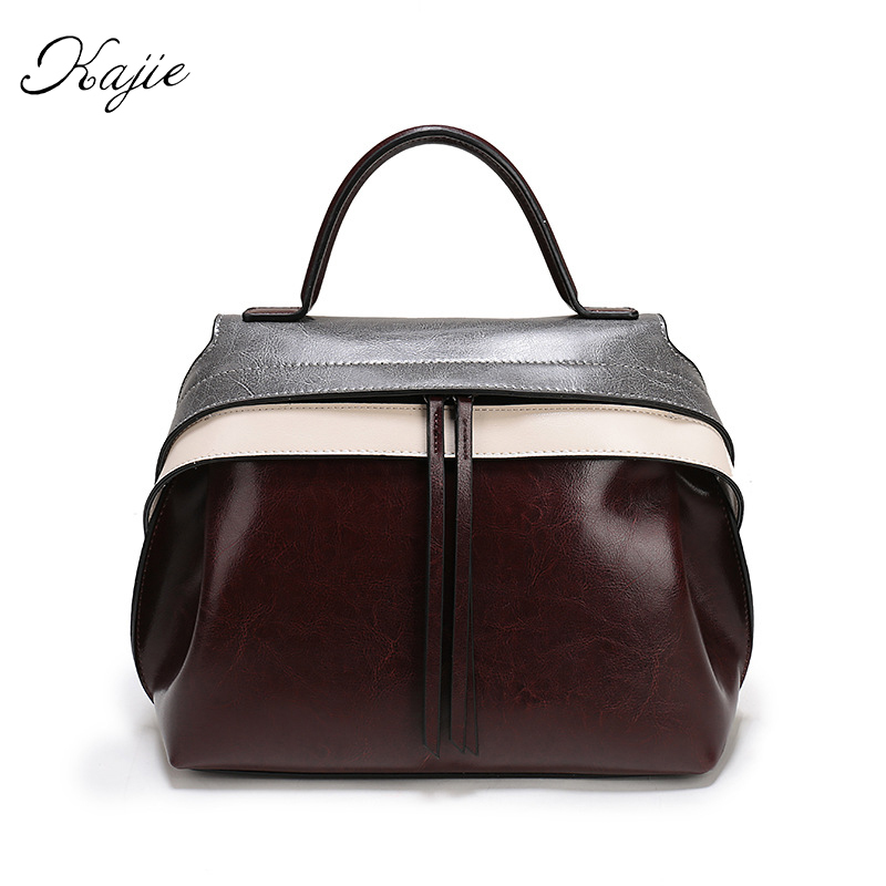 Kajie Famous Brands Fashion Trapeze Catfish Genuine Leather Luxury Handbags Women Shoulder Bags Designer Tote Bag Female Black 2018 fashion smiley face trapeze genuine leather luxury handbags women famous brands bags designer bolsos mujer tote bag female