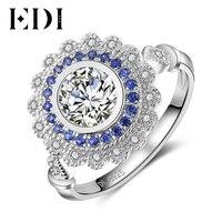 EDI Donne di Lusso Genuino Natural Sapphire Halo 0.8ct Taglio Rotondo 14 K 585 Oro Bianco Fidanzamento Anello di Cerimonia Nuziale Per Le Donne Belle gioielli