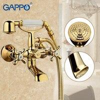 GAPPO 1SET Antique Vintage Telephone Style Wall Mount Bathtub Sink Faucet Spout Two Cross Handle Bathroom