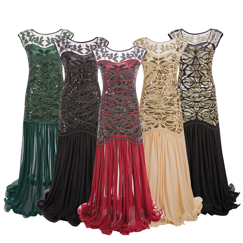 Hot style party deess annual dinner long dress 1920 vintage sequins nail bead gauze lotus leaf dress