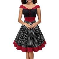 Womens Retro Sexy V Neck Polka Dot Dress Vintage Cap Sleeve 1950s 50s Style Pin Up