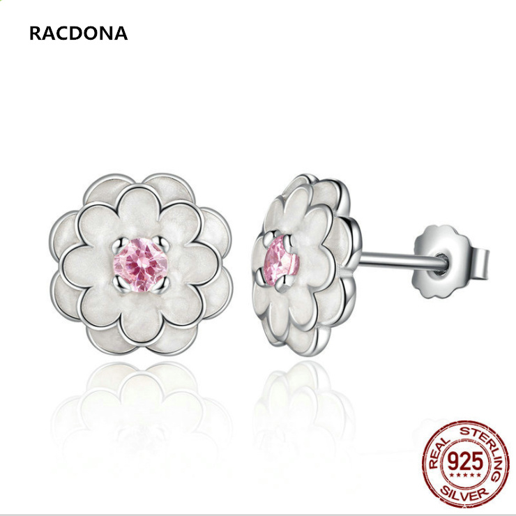 2017 Collection 925 Sterling Silver White Flower Elegant Pink Drill Stud Earrings For Women Compatible with pan jewelery