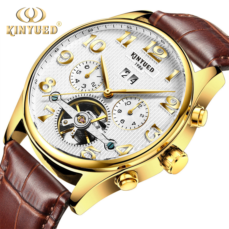 Kinyued Mechanical Watches Men Automatic Self wind Gold Hand Watch Skeleton Male Leather Strap Tourbillon Waterproof