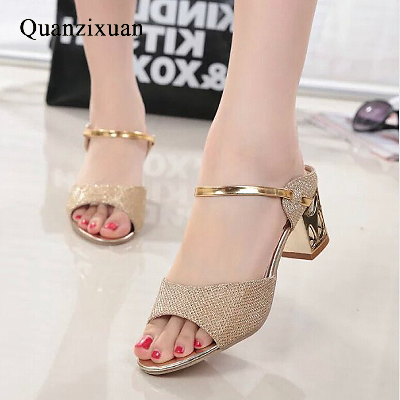 Quanzixuan Shoes Summer Women Sandals Fashion Gold Silver Sandals Mid Heels Casual Open Toes Square Heels-in Middle Heels from Shoes on Aliexpress.com | Alibaba Group