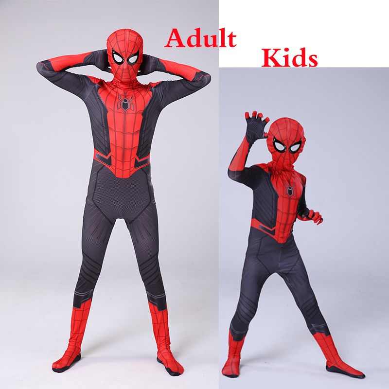 Spider-Man Far From Home Peter Parker Mask Bodysuit Suit Jumpsuit Zentai Halloween Cosplay Costume Spiderman Superheros Man Kids