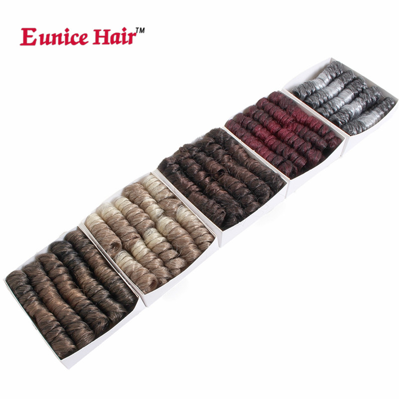 Eunice hair 10 16 20inch small curly synthetic corchet braids hair extension ombre burgu ...