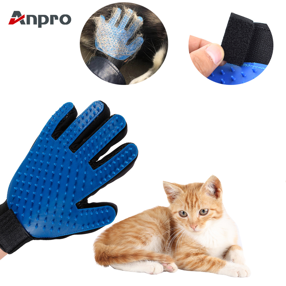 Anpro Pet Dog Cat Grooming Cleaning Brush Gloves Effective Deshedding Back Massage Animal Bathing Hair Removal Gloves Dog Combs
