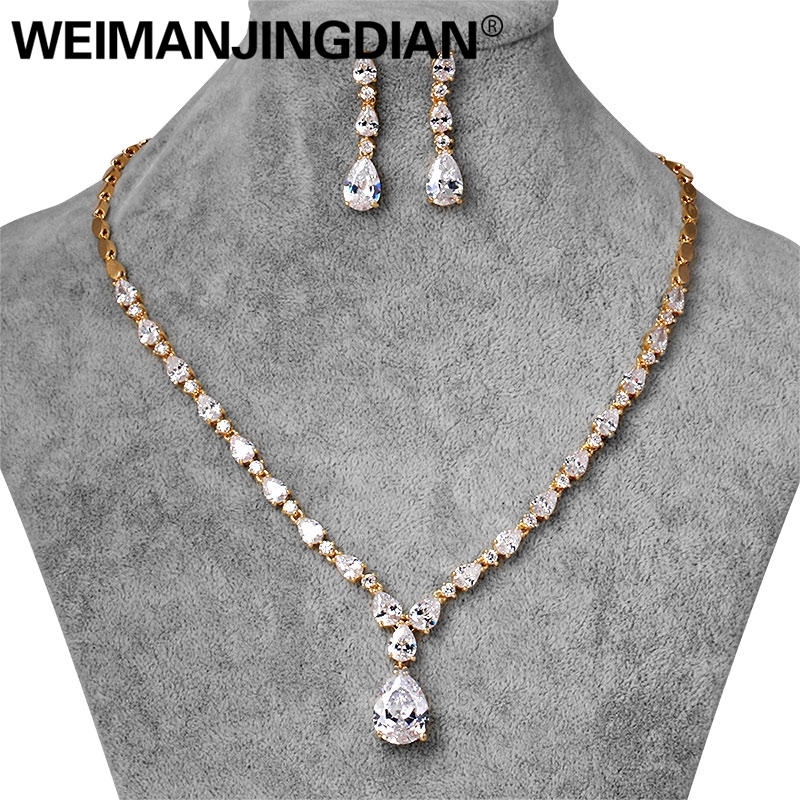 WEIMANJINGDIAN Brand Top Quality Water Drop Cubic Zirconia CZ Crystal Necklace Earring Bridal Jewelry Sets for Women Wedding weimanjingdian brand sparkling cubic zirconia cz crystal zircon flower necklace and earring wedding bridal jewelry sets
