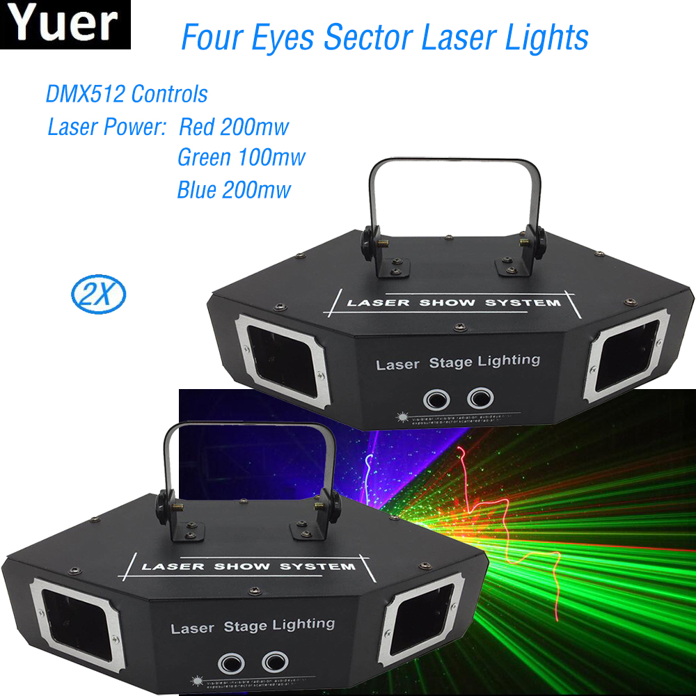 2Pcs/Lot New Stage Laser Light LED RGB Full Color Beam Laser Club DJ Disco Party Laser Light Projector DMX512 Scan Laser Lights