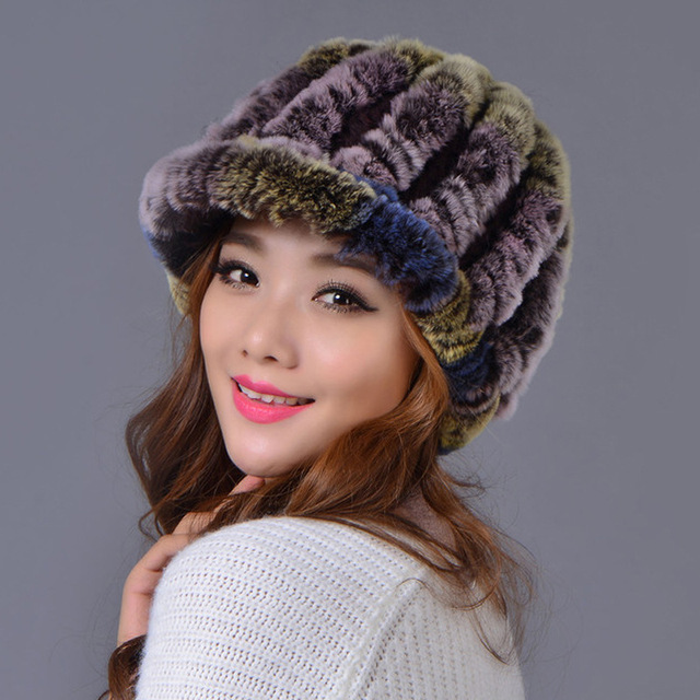 Sale 2016 winter fur hat for women knitted rex Raccoon fur hat with Double layer warm ear protector free size casual women's hat