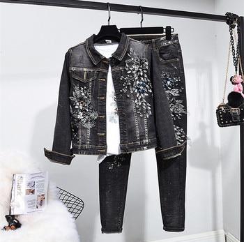European style women Denim jackets+pencil Jeans two piece set Chic beading jeans pantsuits D817