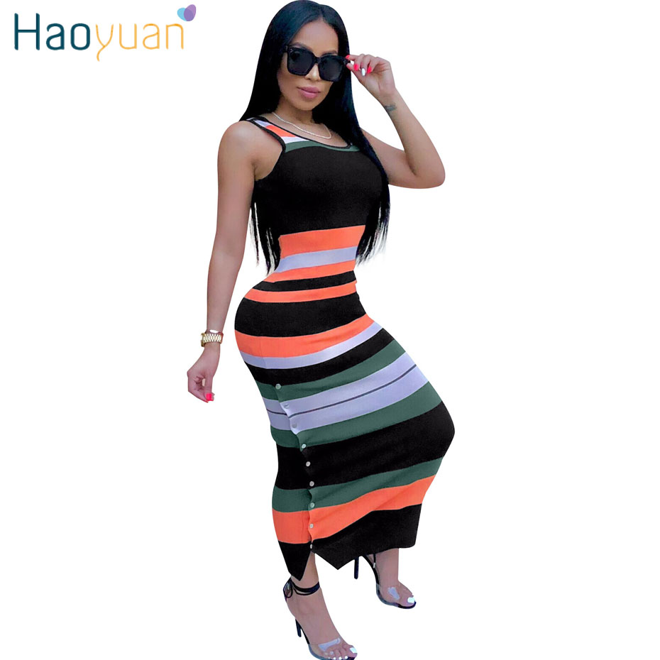 HAOYUAN Striped <font><b>Sexy</b></font> Long Maxi <font><b>Dress</b></font> <font><b>Club</b></font> <font><b>2018</b></font> New <font><b>Summer</b></font> Sundress Tank Party <font><b>Dresses</b></font> Vestido <font><b>Women</b></font> Clothes Pencil Bodycon <font><b>Dress</b></font> image
