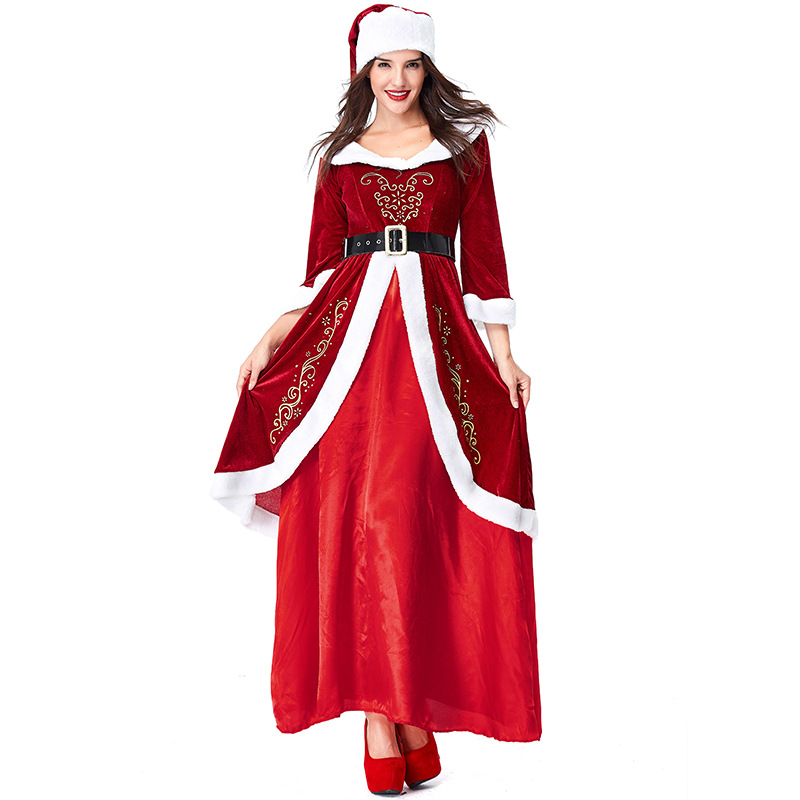 Velvet Red Santa Claus Christmas Costumes Cosplay For Woman Christmas Party Cosplay