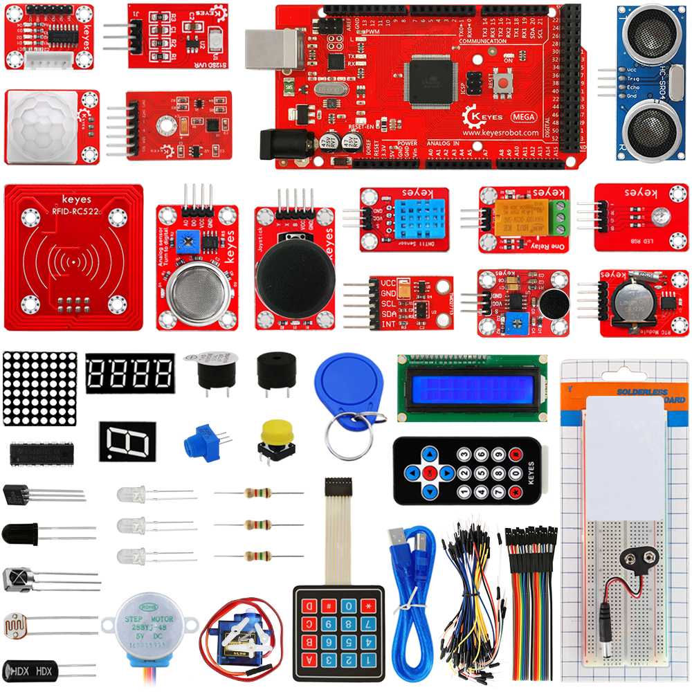 KEYES Ultimate Starter Kit FOR ARDUINO 2560 R3 Development Board keyes kt0044 electronic blocks kit