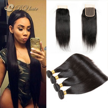 7A Rosa Brazilian Straight Hair 4 Bundles With Lace Closure Cheap Brazilian Hair Extension Unprocessed Virgin