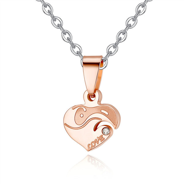 Hot sell personalized Stainless Steel Heart Shape Puzzle  Couple Pendant Engagement Necklace for valentines romantic gift 3