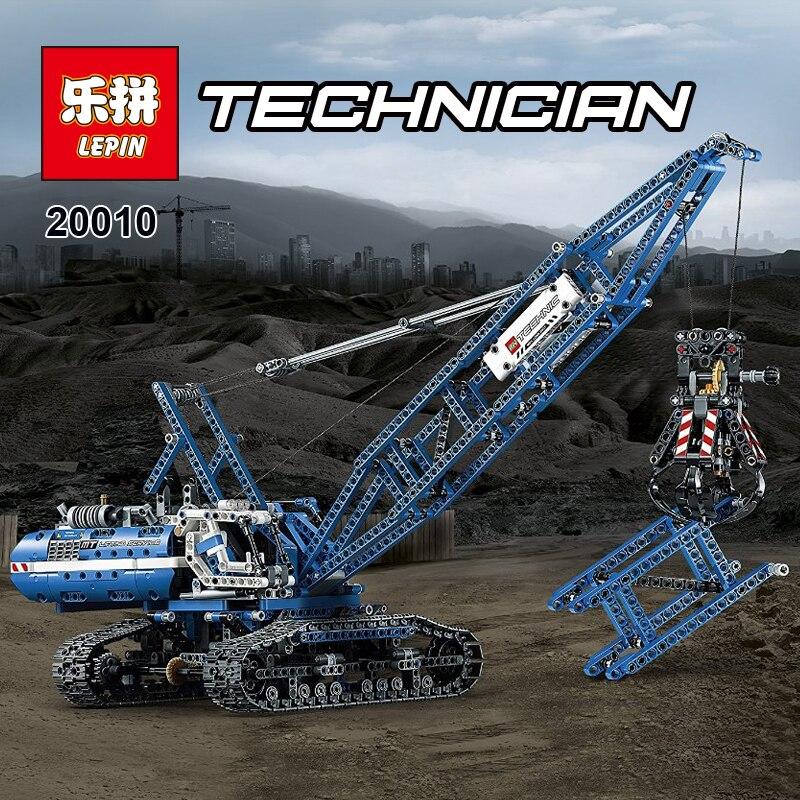 LEPIN Technic Series 20010 1401Pcs Genuine Technic Mechanical Crawler Crane Model Building Kits Blocks Bricks kids Toys 42042 ювелирное изделие 20010