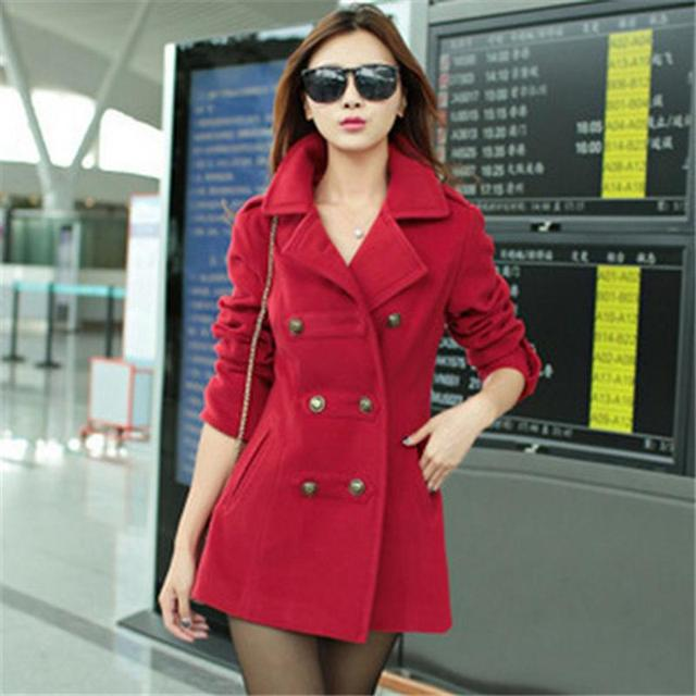 2017 Fashion Women Woolen Coat High Quality Slim Warm Woolen Jacket Coat Korean Style Deep Blue/Red Female