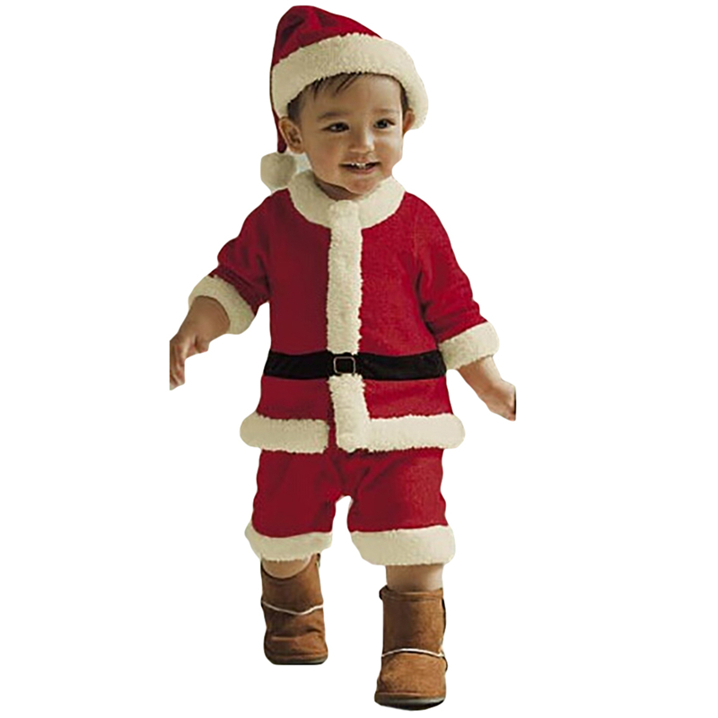 New Retail Kids Christmas Clothing Set Santa Claus Costume For Baby Xmas Party Clothes Romper + Hat 2 pcs Sets Baby Wear