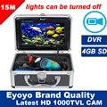 """Eyoyo Original 15 M Inventor Dos Peixes de Pesca Submarina Camera 1000TVL Profissional Gravador de Vídeo DVR 7 """"da Cor Do Monitor De Controle De Luzes"""