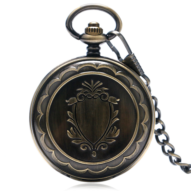 Double Hunter Mechanical Hand-winding Bronze Fob Pocket Watches with Chain Train Locomotive Harry Pocket Watches Male golden watch train locomotive engine design pocket watch mechanical fob watches with double hunter women men relogio de bolso