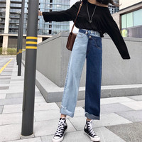 Stright Jeans Pants 2019 Women Fake Two piece Denim Pants Contrast Color Splicing Jeans Ins High Waist Pants Casual Trousers