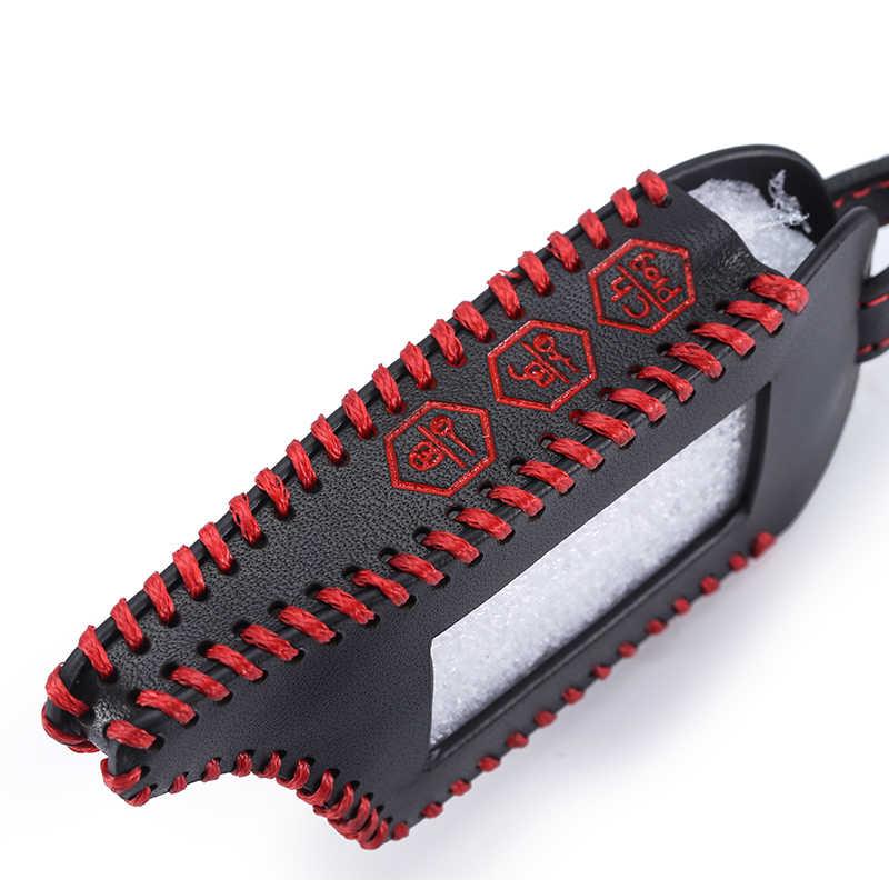 Caso chave de couro para starline b9 b9/b91/b6/b61/a91/a61/v7 c9 lcd forma de alta qualidade remoto carro alarme capa