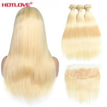 Hotlove 613 Blonde Straight Lace Frontal Closure With 2 3 Bundles Honey Peruvian 13x4 Lace Frontal Closure Pre Plucked Remy Hair(China)