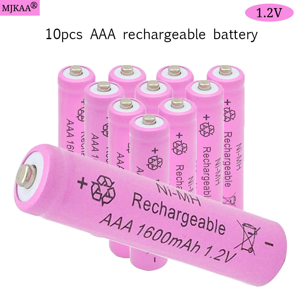 10pcs AAA Ni-MH 1.2V Rechargeable Battery 1600mAh AAA Battery 3A Rechargeable Batteries NI-MH Battery for Clock TV Remotes Toys hbc ba225030 rechargeable battery 225030 6v 1500mah remote control battery hbc batteries ni mh nickel metal hydride pump truck