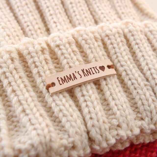 Etiquetas de cuero, etiquetas de cuero personalizadas, etiquetas de ropa personalizadas, etiquetas de punto, etiquetas de ganchillo, 40 pc (PB064)