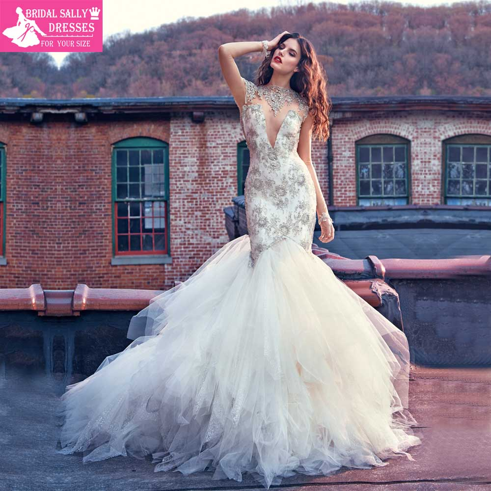 Wedding Sexy Wedding Dresses Images aliexpress com buy luxury beading high neck mermaid wedding dresses sexy vintage gowns tiered shining fashionable d