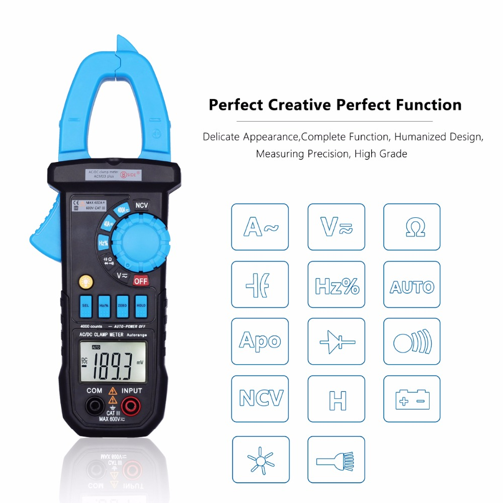 Tester Capacitance DC Meter Current Induction Multimeter AC Alarm Digital BSIDE Voltage ACM03 400A Clamp Frequency PLUS