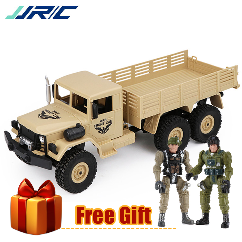 JJRC Q63 1:16 RC Military Truck Radio Machine 6WD Tracked Off-Road Crawler LED Light RTR Remote Control Car Toys for Children willys jeep 1 10