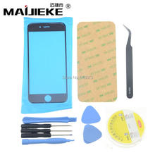 AAA+ Black Front Screen Outer Glass Lens Replacement for iPhone 7 5 5s 6 6s 6plus Repair Kits+Adhesive tape+1 Pair Tweezers