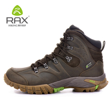 RAX Mens Waterproof Hiking Boots Genuine Leather Hiking Shoes Breathable Boots Women Mountain Boots Waterproof Trekking Shoes