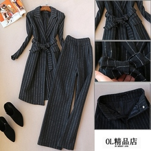 Ladies 2019 autumn and winter new fashion suit woolen striped coat long coat wide leg pants  two piece set top and pants кроссовки sprincway sprincway mp002xm1pxko