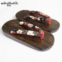 WHOHOLL New Arrivals 2018 Summer Womens Sandals Round Toe Wooden Heel Slippers Japanese Geta Clogs Flip-flops Wedge