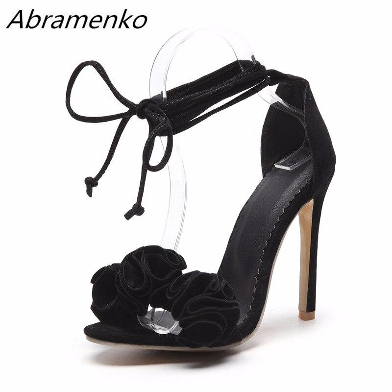 9301103fe Abramenko Mulheres Alta-Salto Alto Sandálias Mulheres Flores Sapatos de  Camurça de Couro Genuíno Tiras