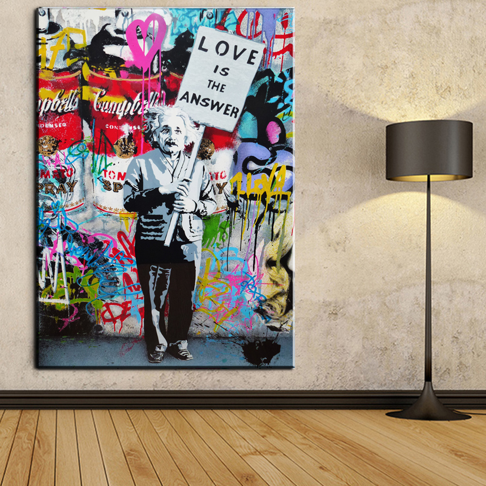 Xdr094 graffiti art canvas painting einstein art prints street urben painting art