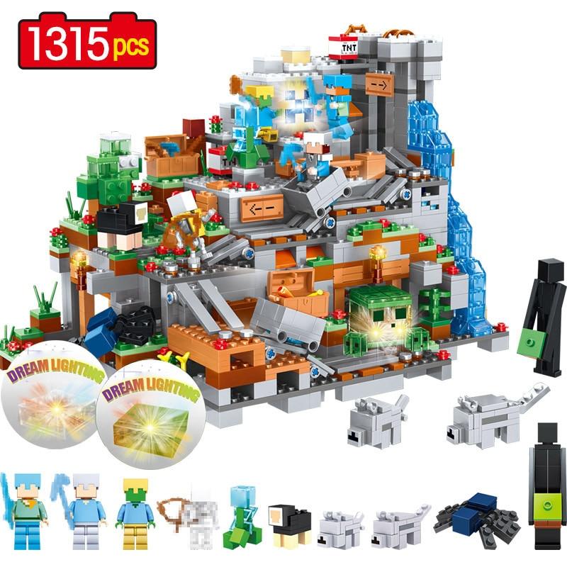 Mi mundo mecanismo cueva edificio bloques Compatible LegoING Minecrafted animales Alex figuras de acción de ladrillo juguetes para los niños