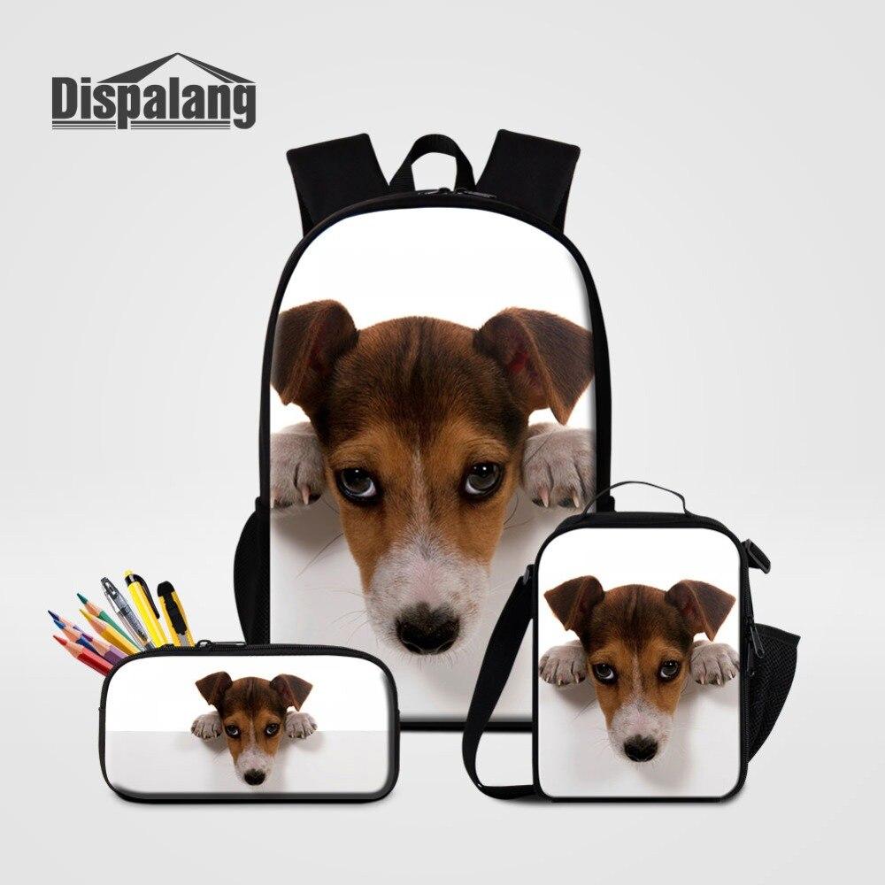 3 PCS Set Schoolbag Pencil Case Lunchbox For Student Jack Russel Dog Backpack Cooler Bag ...
