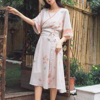 Summer Dress Chinese Style Retro 3 Piece Set Traditional Clothes Women 3/4 Sleeve Floral Print Long Chiffon Dresses